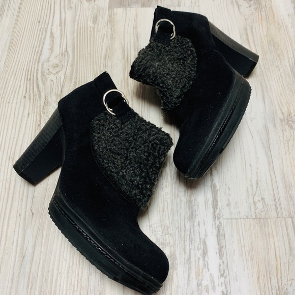 Naturalizer Shoes - Naturalizer Faux Suede Shearling Ankle Booties 8.5